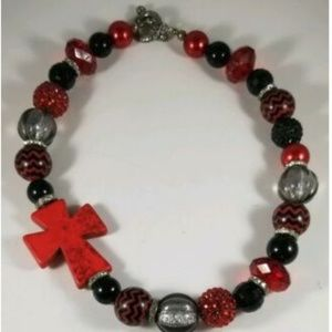 Red Black Silver Cross Beaded Chunky Necklace